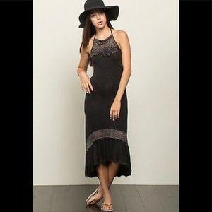 EUC POL Black Acid Wash Hi-Lo Midi Dress! Sz L.